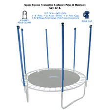 Trampoline Replacement Enclosure Poles & Hardware (Set of 6)