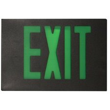 Cast Aluminum Extra Face Plate LED Exit Sign with Green Lettering and Black Face