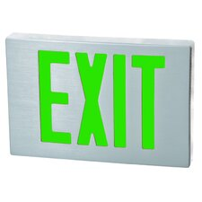 Cast Aluminum LED Exit Sign with Green Lettering, Aluminum Housing and Aluminum Face