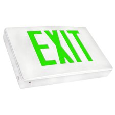 Cast Aluminum LED Exit Sign with Green Lettering, White Housing and White Face