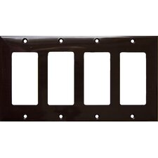 4 Gang Decorator / GFCI Lexan Wall Plates in Brown (Set of 3)