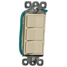 15A-120/277V Commercial Grade Decorator Triple Rocker Switch in Ivory