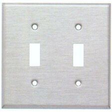 Two Gang and Toggle Switch Metal Wall Plates in Stainless
