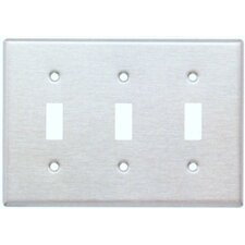 Three Gang and Toggle Switch Metal Wall Plates in Stainless (Set of 3)