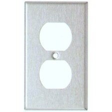 Gang and Duplex Receptacle Metal Wall Plates in Stainless (Set of 6)