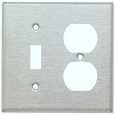 Two Gang / Duplex and Toggle Metal Wall Plates in Stainless (Set of 4)