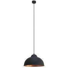 Vintage 1 Light Bowl Pendant Light in Black