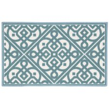 Fancy and FreeTeal/White Area Rug