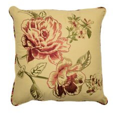 Floral Flourish Cordial Embroidered Cotton Throw Pillow