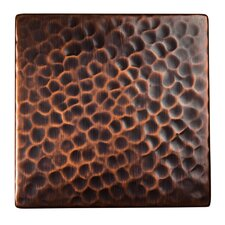 "Solid Hammered Copper 4"" x 4"" Decorative Accent Tile in Antique Copper"