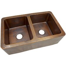 """34"""" x 21"""" Solid Hand Hammered Large Double Bowl Farmhouse Kitchen Sink"""