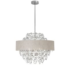 12 Light Crystal Chandelier with Linen Cream Shade