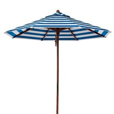 7.5 ft. Octagonal Commercial Grade Striped Wooden Market Umbrella