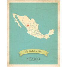 My Roots Mexico Personalized Map Paper Print