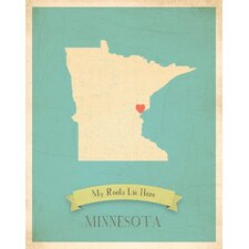 My Roots Minnesota Personalized Map Paper Print