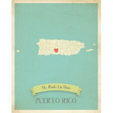 My Roots Puerto Rico Personalized Map Paper Print
