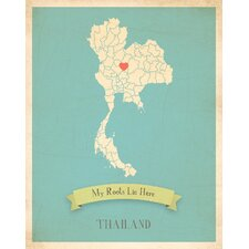 My Roots Thailand Personalized Map Gallery Wrapped on Canvas Art