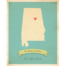 My Roots Alabama Personalized Map Paper Print
