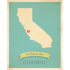 My Roots California Personalized Map Paper Print