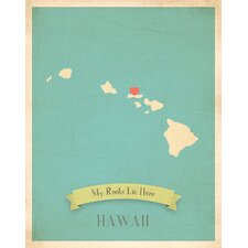 My Roots Hawaii Personalized Map Paper Print