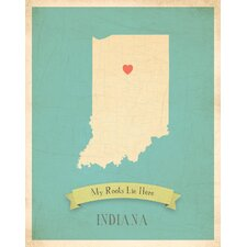 My Roots Indiana Personalized Map Paper Print