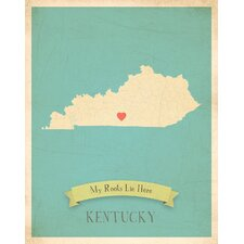 My Roots Kentucky Personalized Map Paper Print