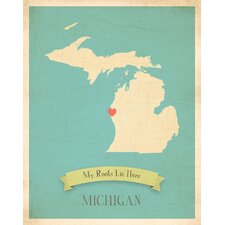 My Roots Michigan Personalized Map Paper Print