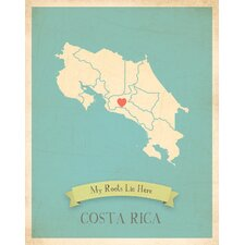 My Roots Costa Rica Personalized Map Paper Print