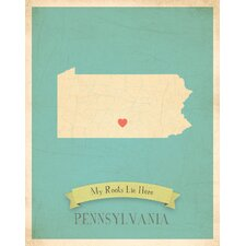 My Roots Pennsylvania Personalized Map Paper Print