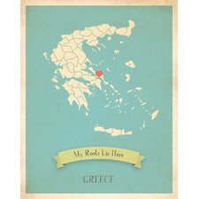My Roots Greece Personalized Map Gallery Wrapped on Canvas Art