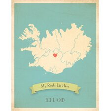 My Roots Iceland Personalized Map Paper Print