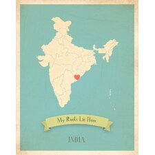 My Roots India Personalized Map Paper Print