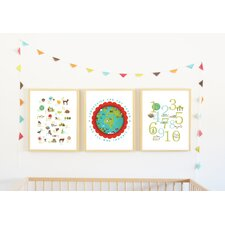 3 Piece Earth Baby in English Print Children's Wall Art Set