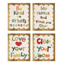 4 Piece Good Manners Print Children's Wall Art Set