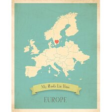 My Roots Europe Personalized Map Paper Print