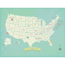 My Travels Personalized USA Map Graphic Art