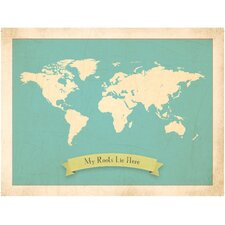 My Roots Personalized World Map Graphic Art in Blue