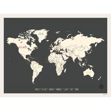 Vintage Personalized World Travel Map Graphic art
