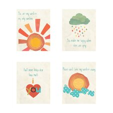 4 Piece You Are My Sunshine Print Children's Wall Art Set