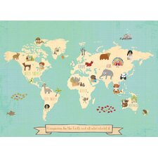 Global Compassion World Map Graphic Art on Wrapped Canvas
