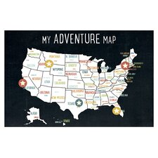 My Adventures USA Map Paper Print