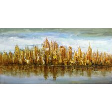 Gold Skyline Painting Print on Wrapped Canvas