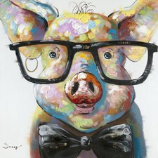 Smart Pig Painting Print on Canvas