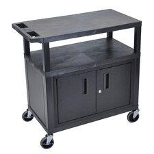 Fixed Height Presentation AV  Cart with Cabinet