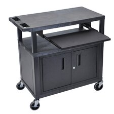 Fixed Height Presentation AV Cart with 3 Shelves Pullout Shelf and Cabinet