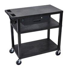 Presentation AV Cart with 3 Shelves and Drawer