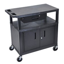 Utility Cart with 3 Shelves/Cabinet and Drawer
