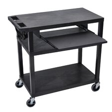 Presentation AV Cart with 4 Shelves and Pullout Shelf
