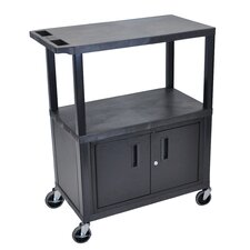 Fixed Height Presentation AV Cart with 3 Shelves and Cabinet