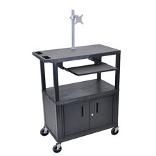 Presentation AV Cart with Pullout Shelf, Monitor Mount and Cabinet